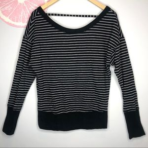 VS navy white stripe off shoulder sweatshirt xs